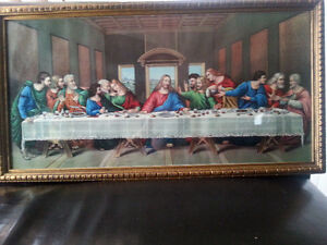 Vintage wooded frame print of The Last Supper