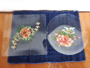 Hand Painted Glass Serving Plates x2