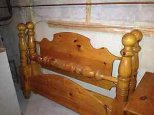 Queen pine bed frame and end tables