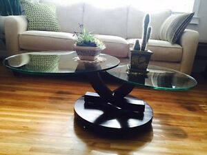 Glass Swivelling Designer Coffee Table