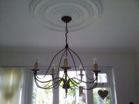 Vintage Unique metal design ceiling light chandelier with 5 candlelights.