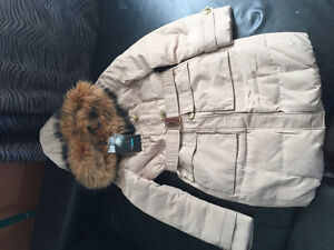 REDUCED!!! New Down coat with fur hood/colar