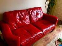 2 x quality red leather 3 seater sofas