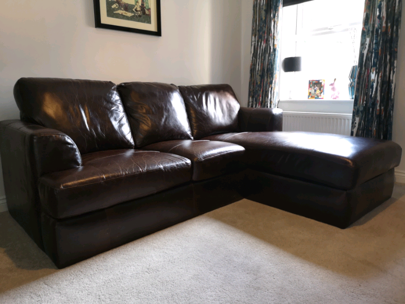 Astounding Next Stratus Iii Four Seater Left Chaise Brown Leather Sofa In Wakefield West Yorkshire Gumtree Pdpeps Interior Chair Design Pdpepsorg