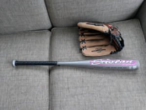13 inch left handed baseball glove and bat