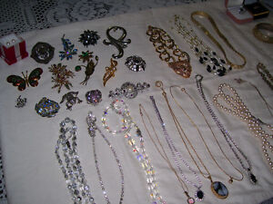 Estate CostumeJewelry--Watches, Broaches, Necklaces, Rings