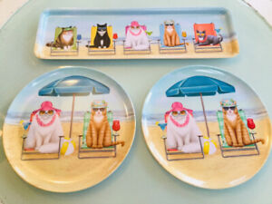 Brand New condiment tray and 2 Cat plates.