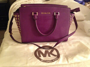 Michael Kors Large Selma Grommet Top Zip Satchel Violet