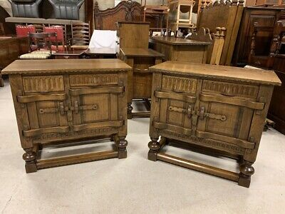 A Pair of Nigel Griffiths Handcrafted Solid Oak Sideboards