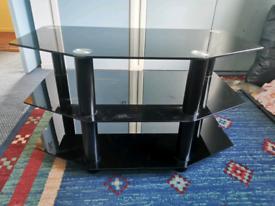 3 shelf black glass TV stand