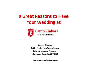 9 Great Reasons To Get Married At Camp Kinkora