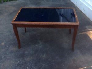 Antique blue glass top coffee table