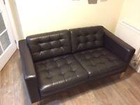 IKEA landscrona dark brown leather sofa