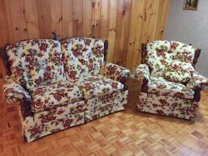 Ensemble causeuse et chaise berçante Vilas