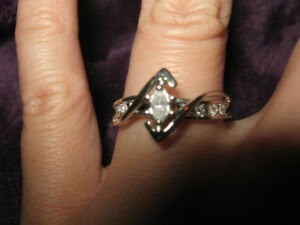 10K White Gold .25 Marquise Cut Diamond Ring Size 6