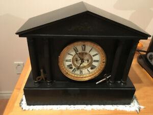 Ansonia Black Marble Clock c. 1880-1910