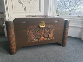 Oriental Carved Camphor Wood Trunk Kist Coffee Table