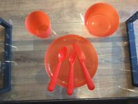 Children's dining sets available in orange, blue, yellow, green, purple and pink, £2 per set