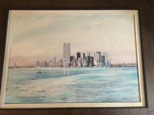 Original New York Painting City Moving Sale Table Lamp Chairs