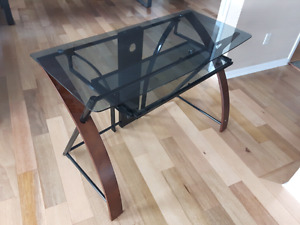 Glass Desk + free leather office chair