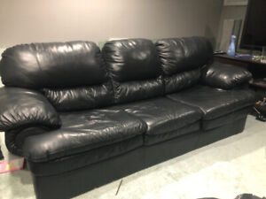 All 4 pieces: Real leather sofa bed set