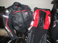 Ducati Leather Jacket and Pants Res and Black Removable Guards