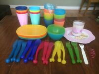 Huge Bundle Picnic Ware Plastic Children Party Plates Cups Utensils Morden