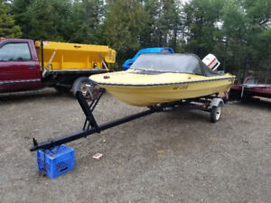 16 foot boat with trailer and 70hp Johnson engine