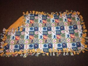 Handmade fleece baseball blanket