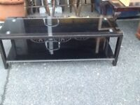 Black glass coffee table TV cabinet