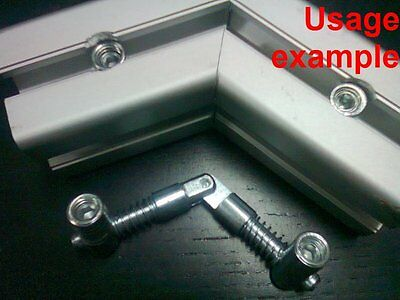 Aluminum T-slot Center Adjustable Angle Double Anchor Connector 40x40-8mm 4-set