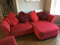 Red dfs corner sofa and arm chair