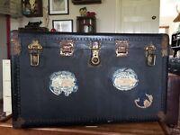 Huge vintage steamer trunk with white star line labels (titanic interest)