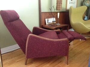 fauteuil inclinable en teck Vintage Mid Century teak recliner