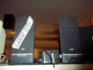 Pair Amplified Computer Speakers with AC adapter and input jack.