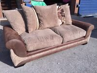 New Brown and Cappuccino Fabric 3 Seater Sofa with Scatter Cushions