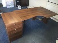 Dark brown desk with matching drawers