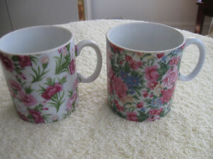 PAIR of DECORATIVE HAND PAINTED VINTAGE CHINA COFFEE / TEA MUGS