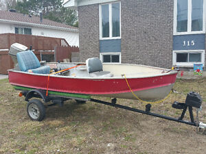 14 ft aluminum boat, motor & trailer.