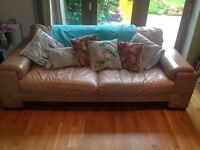 Leather three seater and two seater