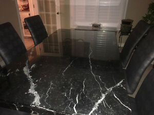 Marble Dining Table w/ 6 chairs