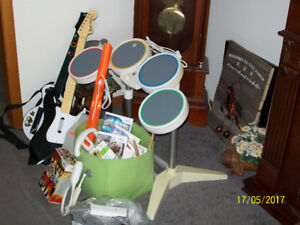 we games also 2 guitars hero games and drums