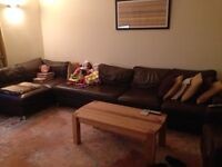 Brown Leather Corner sofa and arm chair