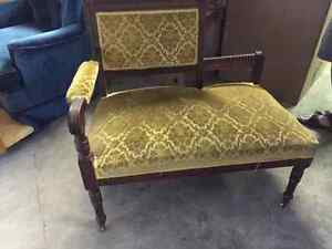 antique bench wood and fabric
