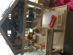 Plan Toys Wooden Doll House and Accessories