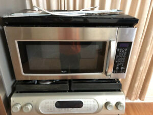 "Whirlpool 30"" over the range microwave hood oven stainless steel"