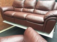 FULTONS LUXURIOUS FULL REAL LEATHER RECLINING 3 & 1 SOFA SET