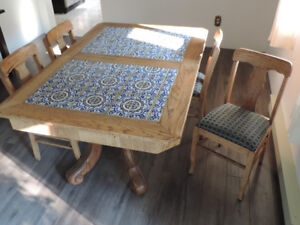 Hand Made Dining Table and Chairs With Tiles