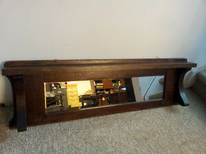 Vintage Long Narrow Wood Frame Mirror