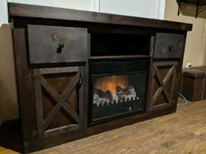 Barn style fireplace cabinet just built